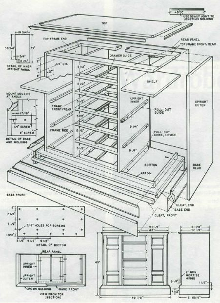Woodworking plan for wardrobe.