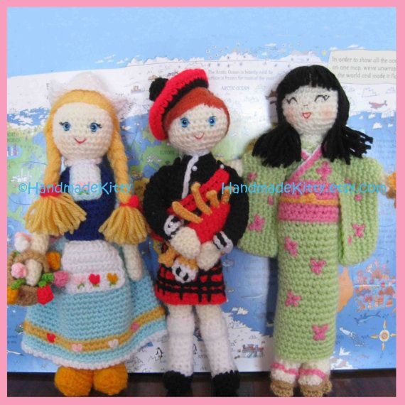 Regional Dolls Dutch Scottish Japanese Dolls Amigurumi PDF Crochet Patterns by HandmadeKitty