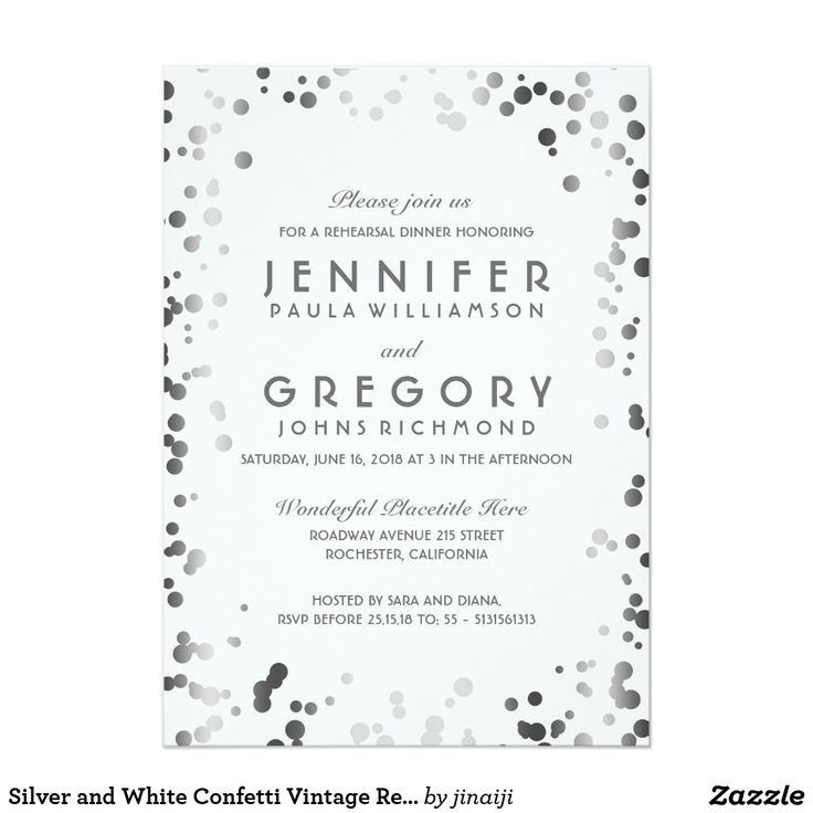 Silver and White Confetti Vintage Rehearsal Dinner