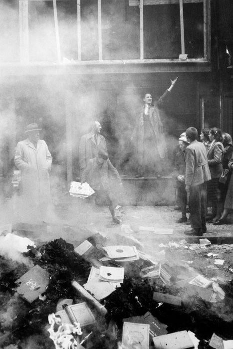 Burning Soviet books, Budapest 1956.