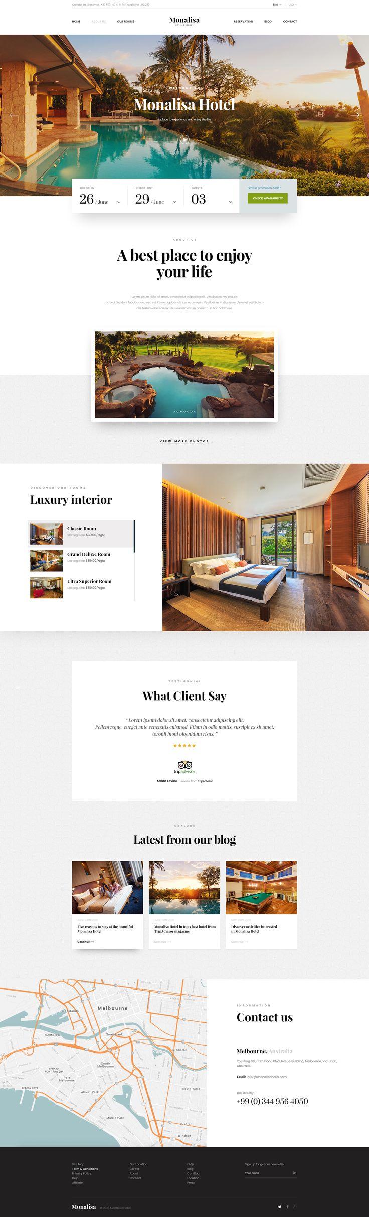 Dribbble - home.jpg by C-Knightz Art  호텔의 예약이나 언제나 찾을 수 있는 특수성 때문에 날짜가 사용자에게 가장 중요한 요구 사항이다. 따라서 날짜를 중심으로 예약할 수 있는 홈페이지 시스템을 선보이고 있다. 사용자의 요구가 잘 반영된 홈페이지라고 생각된다.