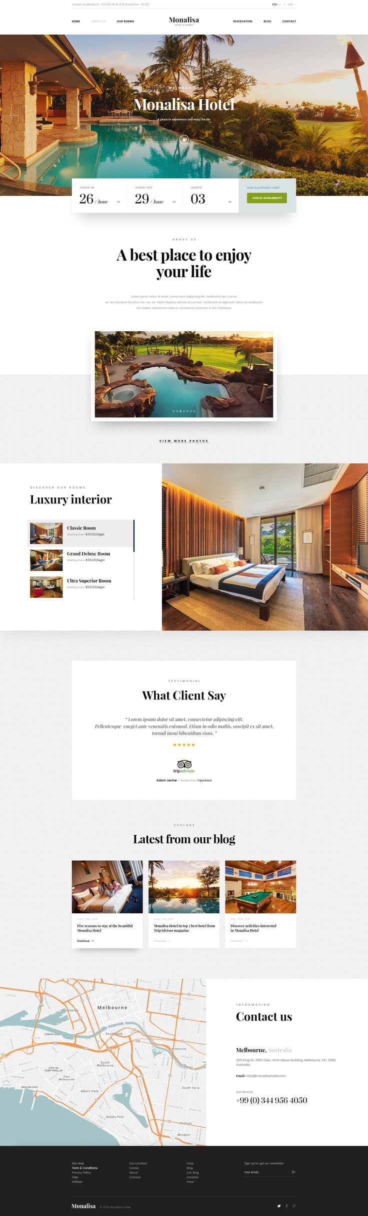 Dribbble - home.jpg by C-Knightz Art 호텔예약날짜가 가장 중요시 되는 사용자 요구로 인해 날짜를 기반으로 예약할 수 있는 홈피 시스템을 선보이고 있다.