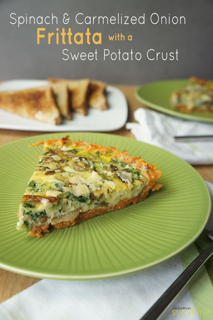 Spinach and Caramelized Onion Frittata with a Sweet Potato Crust-- a healthy and stunning brunch dish, that also makes a great lunch or dinner!