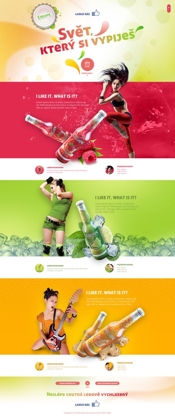 Simple concept, but very effective. Color games to emphasize taste variety, dedicated styling and photo shoot to complement the products, and even backgrounds to match. The product pop-out effects add depth and interest to the design. Top and bottom headers are weak & need improvement.