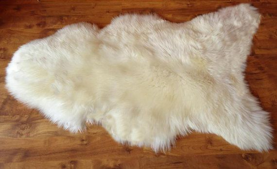 Giant SHEEPSKIN   White Throw Genuine leather by TrendingSlippers