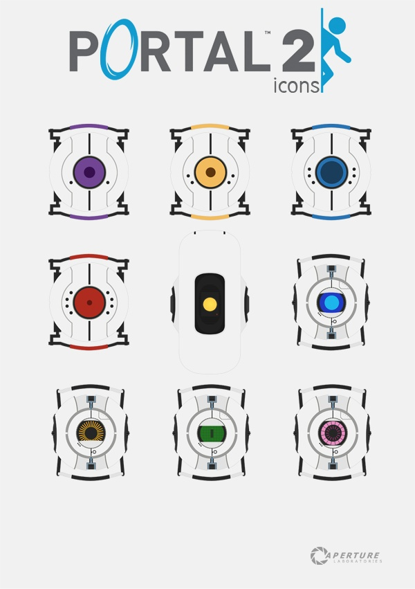 aperture science From Top: Morality, Curiosity, Memory, Rage, GLaDOS, Wheatly, Space, Rick, and Fact.