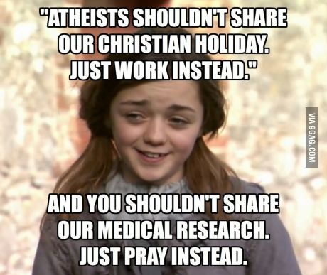 Hypocrisy. You do know a LOT of Christian holidays originally was pagan, right? Half of the Christmas celebration comes from Yule and the Solarstice.