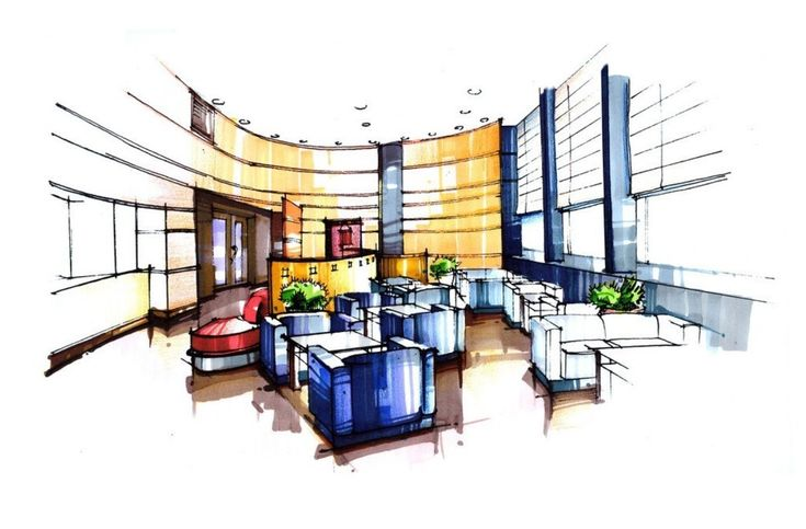 Interior design sketches living room hand painted 3d house for Office design handbook