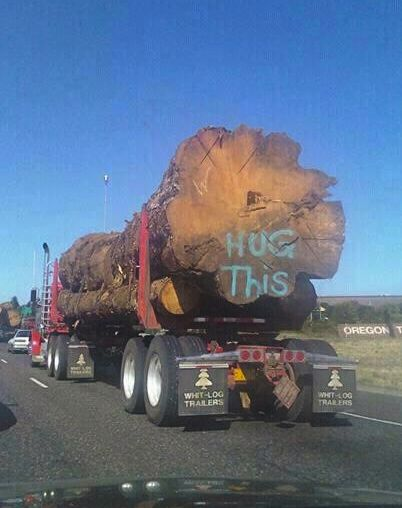 This photo is an environmentalist's worst nightmare: a gas-guzzling, exhaust-spewing 18-wheeler strapped down with dead, dismembered trees that have been heartlessly defaced by spraypaint from an aerosol can.