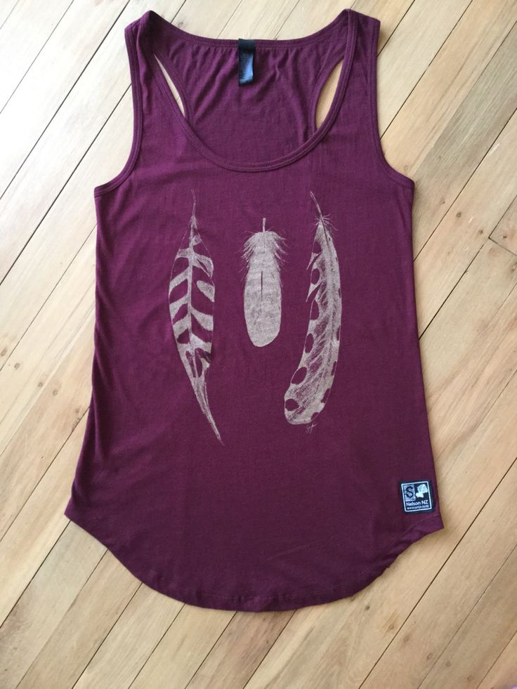 Ladies Feather Racer Back Vest by SonjaHandcraftedTees on Etsy. Hand drawn, hand screen printed designs.