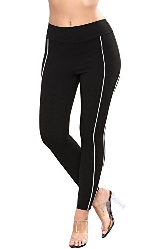 4b8a63db61aa2 Ytwysj Womens Contrast Piping Trim Black Sports Leggings High Waist Yoga  Pants Tummy Control Workout Stretchy Tights