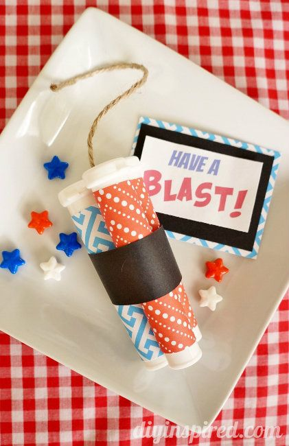 Repurposed container- Dynamite Stick Patriotic Party Favors with free printable