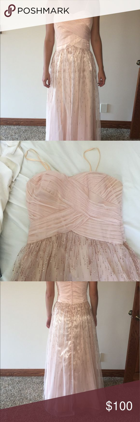 Champagne Prom Dress Beautiful gown, classy. Originally purchased at Von Maur. Hailey Logan Dresses Prom