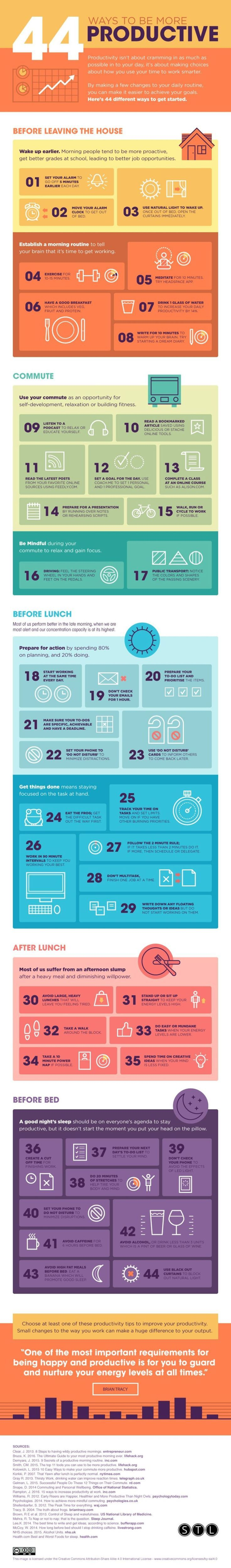 44 Ways To Be More Productive - #infographic