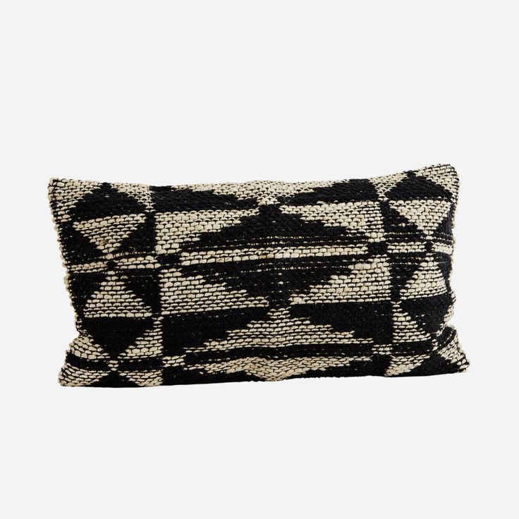 Chenille/Jute + Black/Natural Cushion Cover : Stunning chenille and jute rectangular cushion in black/natural tones. We love this large unusual shape, a great textural feature piece for chairs, sofa's and beds.