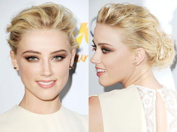 : Amber Heard, Peach Lip, Smoky Eyes, Wedding Hair, Curling Irons, Makeup, Hairstyle, Beauty, Copper Shadows