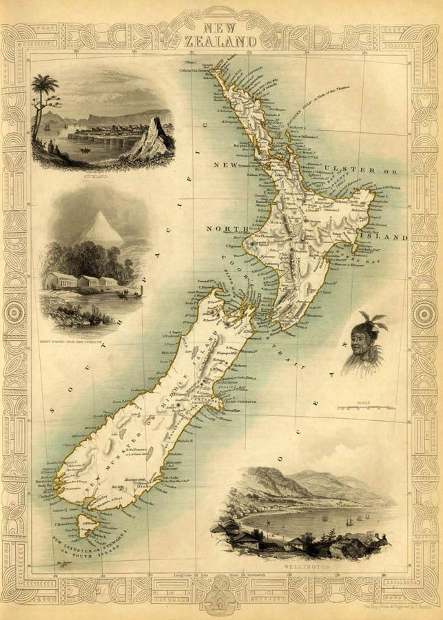 "Antique New Zealand  map Print - 16 x 22 "". $30.00, via Etsy."