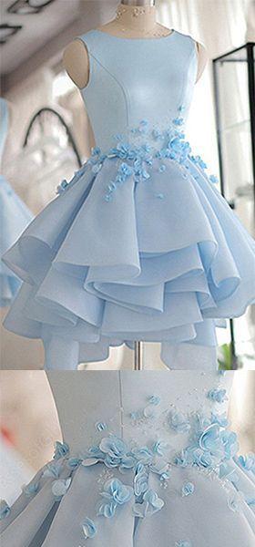 Sky Blue Homecoming Dress,A-line Scoop Neck Prom Dress,Satin Tulle Short Flowers Original Prom Dresses,Mini Dress #shortpromdresses