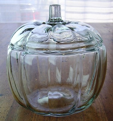 Anchor Hocking Clear Glass Pumpkin Shaped Jar. I really want one of these. This would look great filled with candy corn for Hallowe'en!