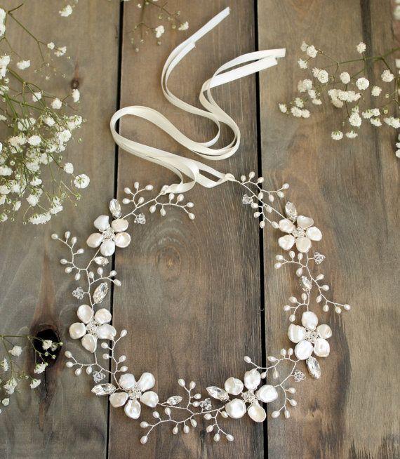 Bridal hair vine floral headpiece freshwater by JoannaReedBridal