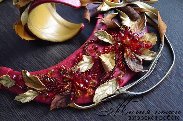 """Купить Комплект из кожи """"Золотая осень"""" - разноцветный, листья из кожи, осеннее колье, осень, листопад"""