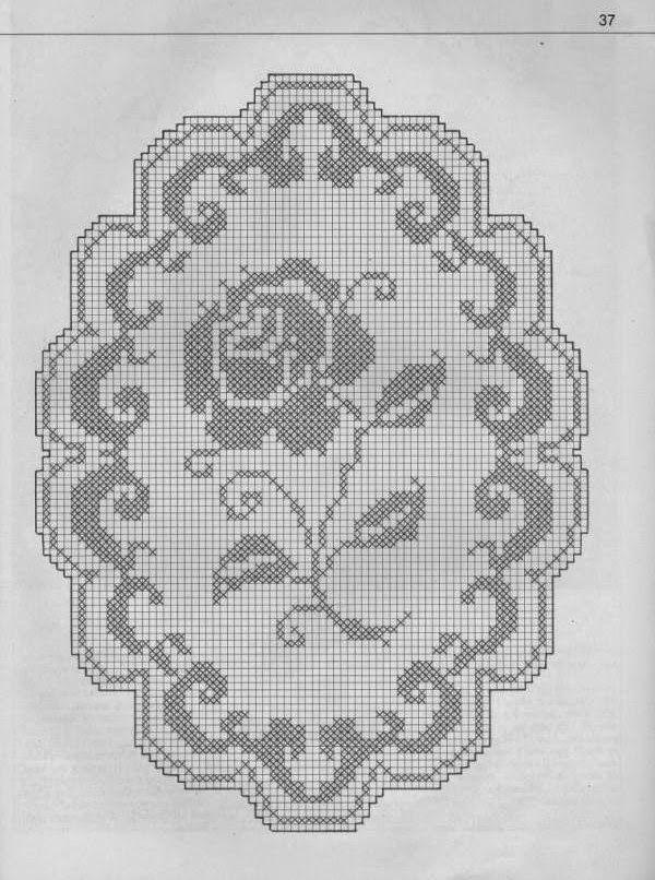 Hobby lavori femminili - ricamo - uncinetto - maglia: Schema  Rosa a Filet