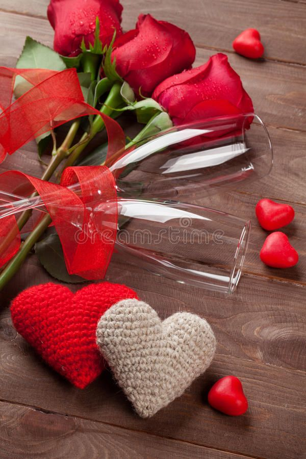 Red Roses Hearts And Champagne Glasses Over Wood Valentines Day Concept Affiliate Hearts Champagne Red Roses Gla Red Roses Happy Valentine Rose