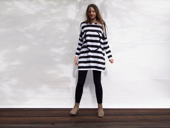 Striped t shirt, oversized tunic, black and white stripes, oversized shirt,  loose shirt, women clothing, geometric print