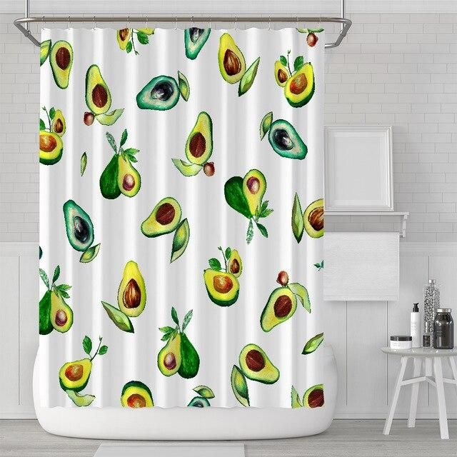 Happy Avocado Shower Curtain In 2020 Curtains Unique Curtains