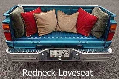 hubby would love this.Trucks, Ideas, Man Cavs, Redneck, House, Loveseats, Front Porches, Man Caves, Hilarious Photos