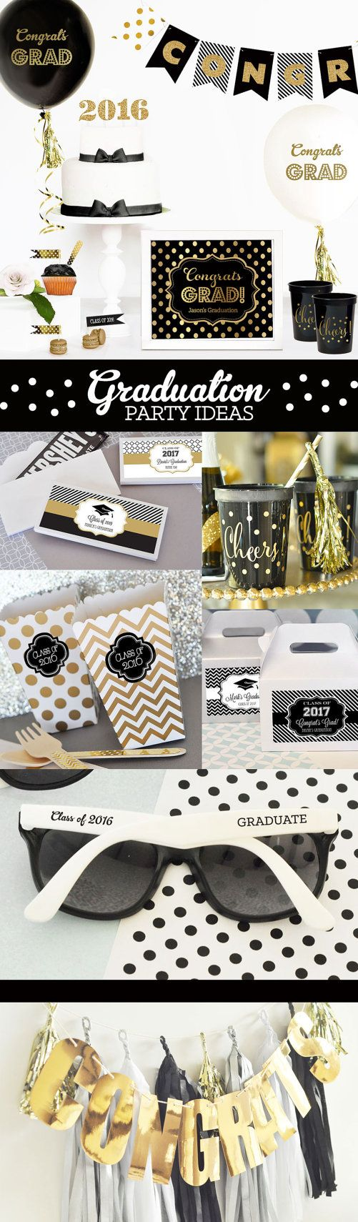 Graduation Party Ideas for a black and gold graduation party theme! 2016 Graduation Balloons make the perfect graduation gift for the high school graduation grad party!