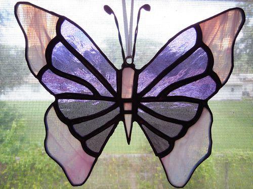 Handmade Purple Pink Iridescent Butterfly Stained Glass Suncatcher - eBay