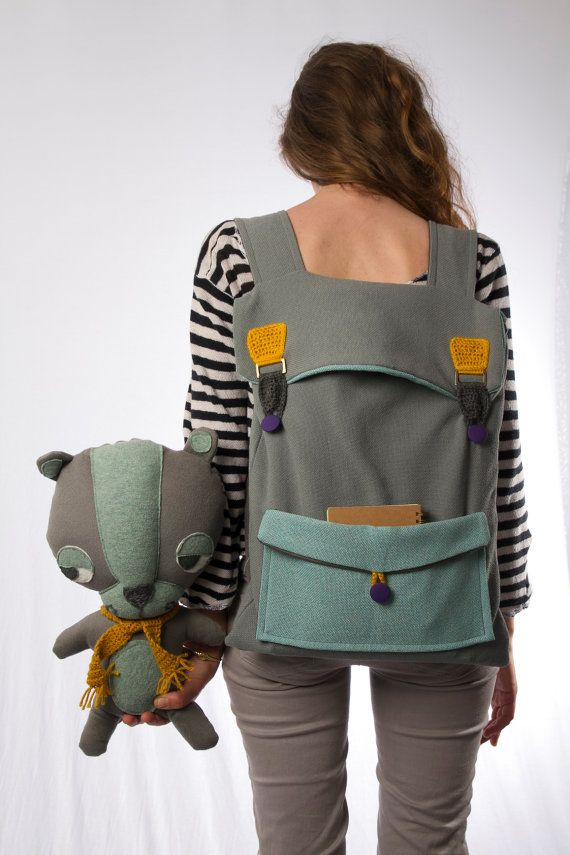 big laptop backpack in grey and mint with crochet by Marinsss