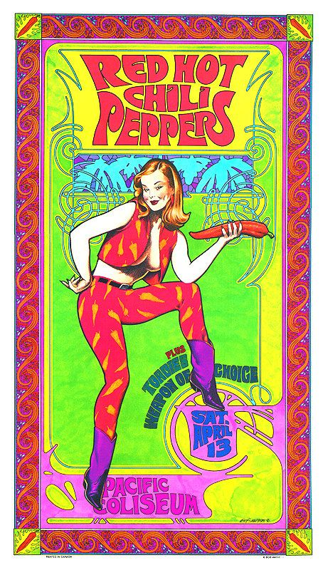 Affiche de Concert Red Hot Chili Peppers Pin up par BobMasseStudios