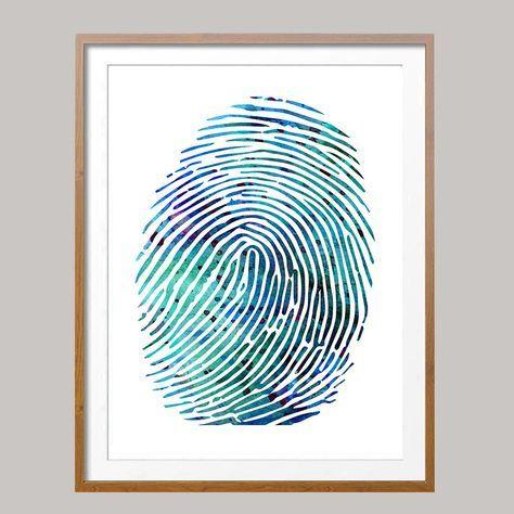 Fingerprint poster fingerprint illustration Wall Art anatomy art science art gift fingerprint Wall decor [N492] Giclee print from original watercolor Sizes:16x20, 18x24, 24x36 Packed for shipping with