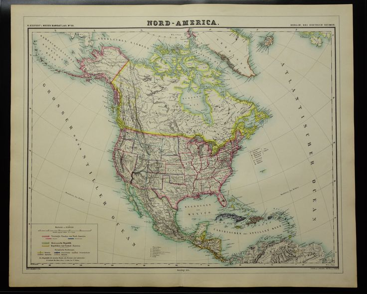 """1874 antique map North America - beautiful hand-colored vintage original old poster about USA Mexico Canada Caribbean central America 19x24"""" by DecorativePrints on Etsy"""