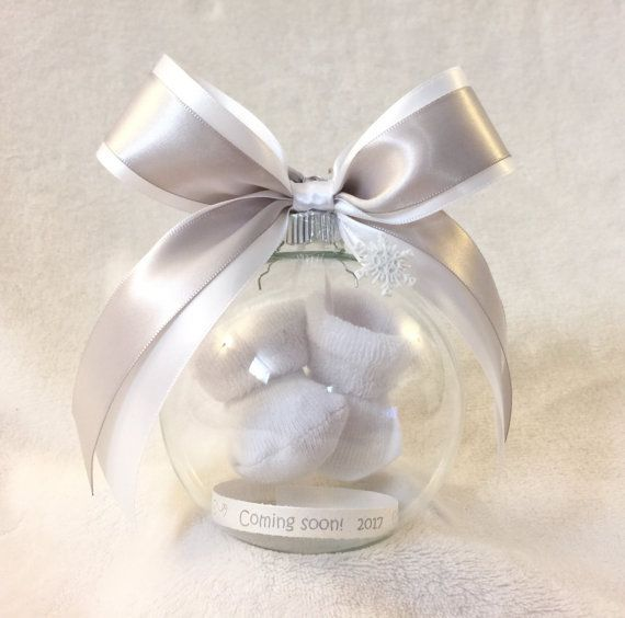 Pregnancy Announcement, Gender Reveal Ball Ornament with Floating Baby Booties