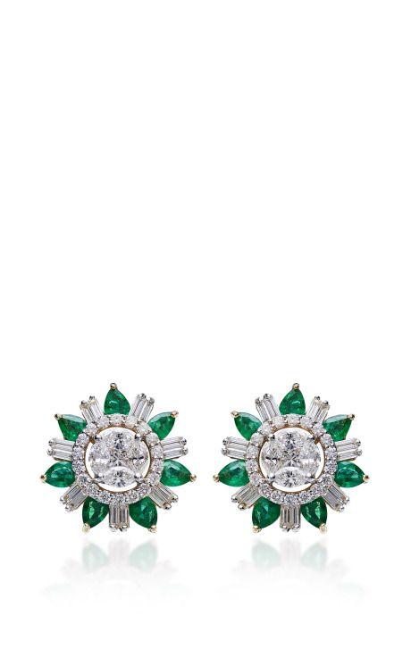 Emerald And Diamond Stud Earrings by Farah Khan Fine Jewelry for Preorder on Moda Operandi