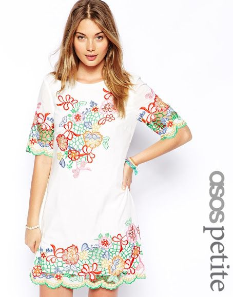 Outstanding Crochet: ASOS PETITE Exclusive Shift Dress in Multi Colored Crochet. Richelieu Stitch Embroidery.