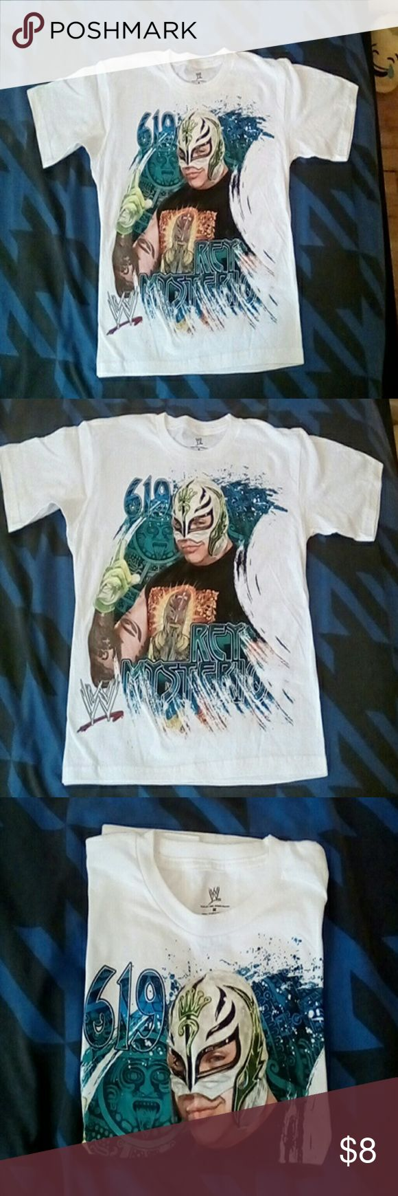 Boys Tee WWE Tee white short sleeve Ray Mysterio brand new without tags (tag says M but more like a Lg) WWE  Shirts & Tops Tees - Short Sleeve