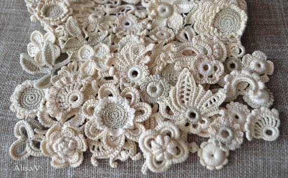 "30 Appliques fiore all'uncinetto ""boho-Ivory"""