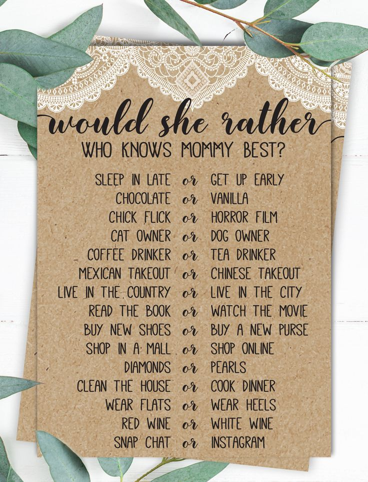 Would She Rather, Who Knows Mommy Best, Baby Shower Game, Rustic Baby Shower, Country Baby Shower, Baby Shower Ideas