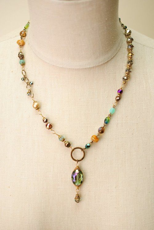Crisp Autumn- Slightly chunky gemstone crystal focal necklace is handmade in Floyd Virginia.>