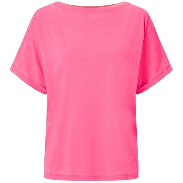 Miss Selfridge Pink Burnout Sleeve T-Shirt ($8) ❤ liked on Polyvore featuring tops, t-shirts, pink, slouchy t shirt, burn out tops, slouchy tops, burnout t shirt and burnout top