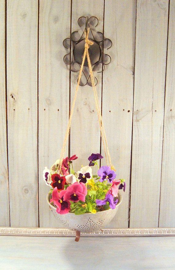 Repurposed Colander Flower Pot Rustic Hanging by FrogLevelFarm