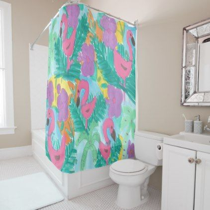#Flamingo Tropical Jungle Shower Curtain - #Bathroom #Accessories #home #living