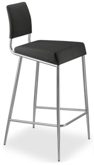 Sgabello in metallo con sedile e schienale in pelle bianca o nera