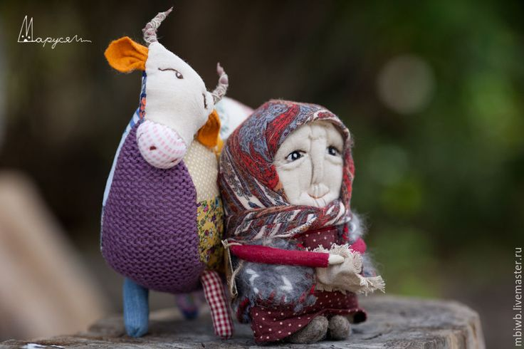 Купить Бабушка с коровой - разноцветный, народная кукла, бабушка, корова, деревня, ткань, лоскутное шитье