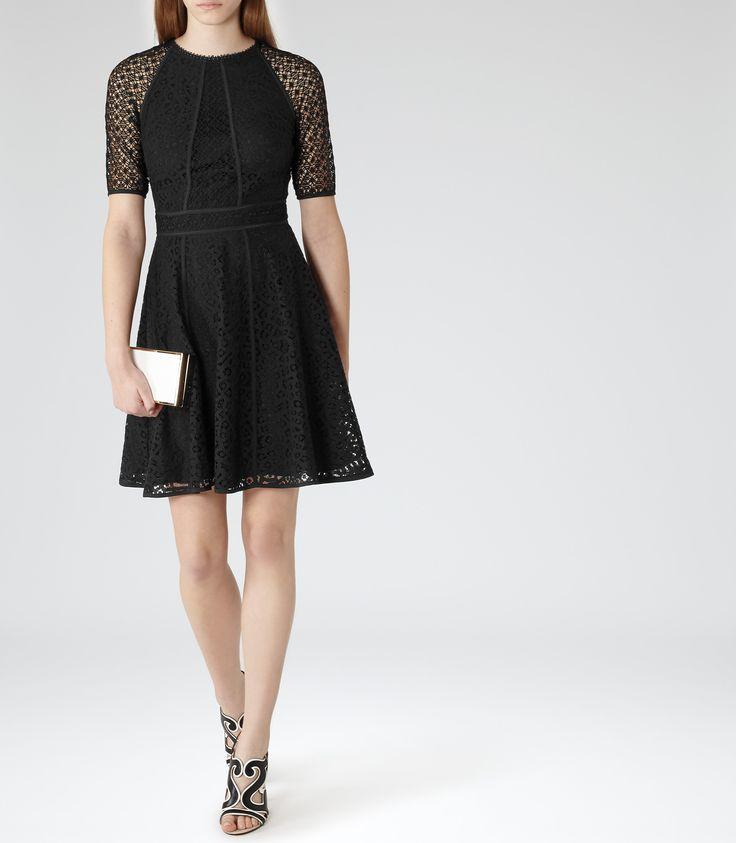 Womens Black Textural Overlay Dress - Reiss Bounty