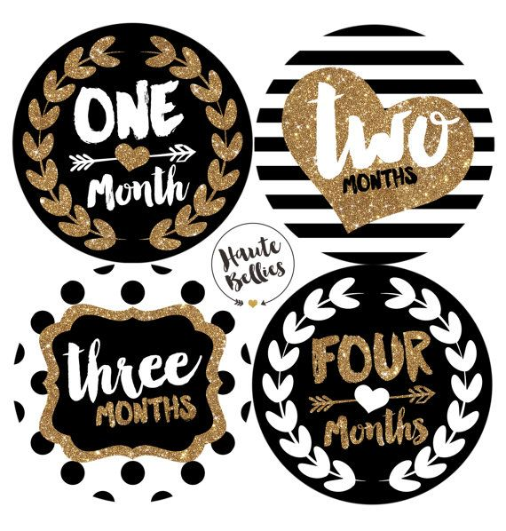 Black & Gold LUXURY Monthly Baby Milestone Stickers By Haute Bellies - Baby Girl - Monthly Baby Stickers - Baby Month Sticker #1